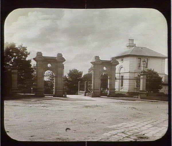 Entrance gates of Kew Asylum circa 1880 - Photo Source - Wikiland